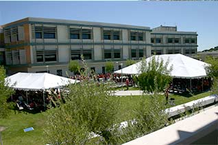upper quad with large tents set up