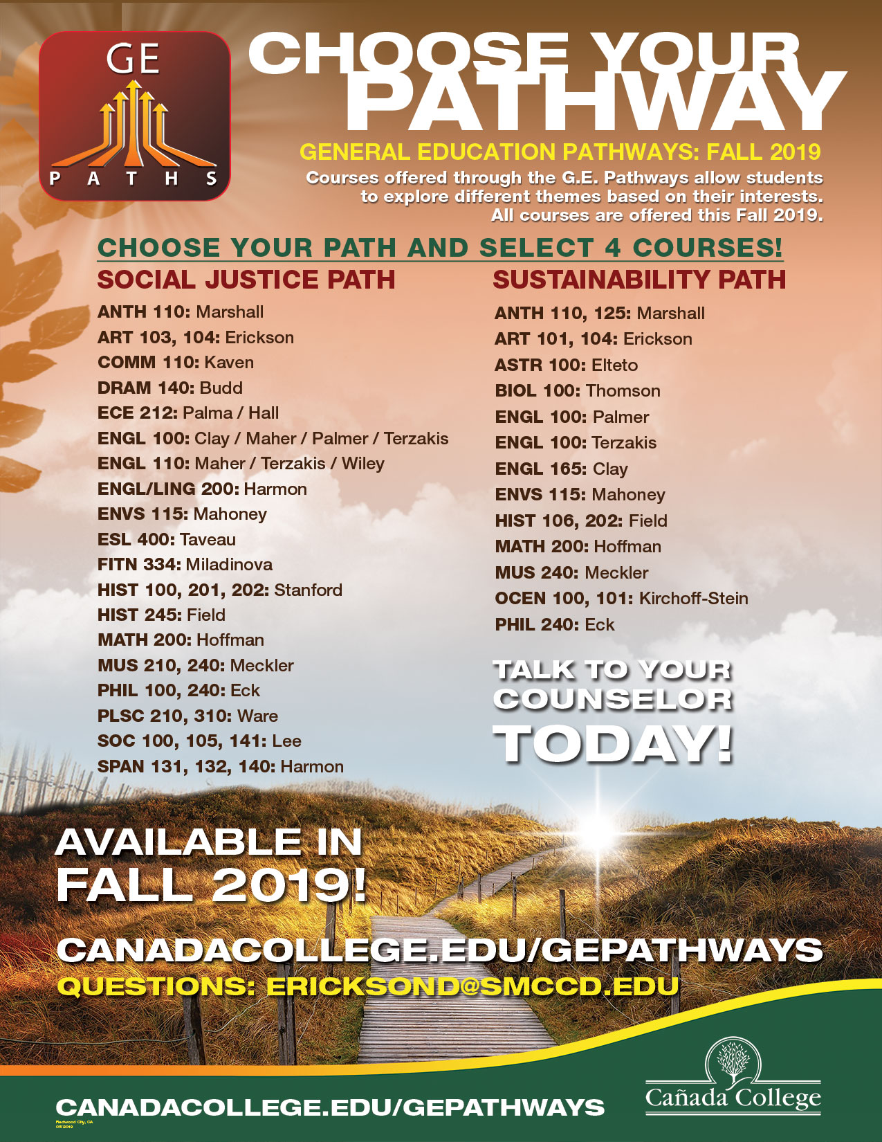 Fall 2019 GE Pathways poster
